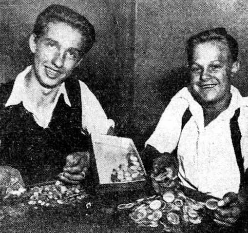 Theodore Jones and Henry Grob with their treasure.
