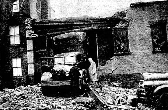 Destruction of the garage at garage at 564 Carroll Street in New York City.