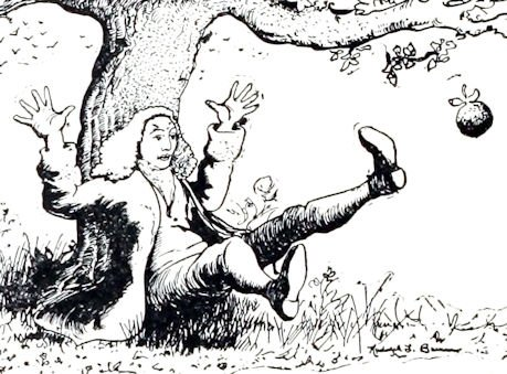 1912 image of Newton and Falling Apple