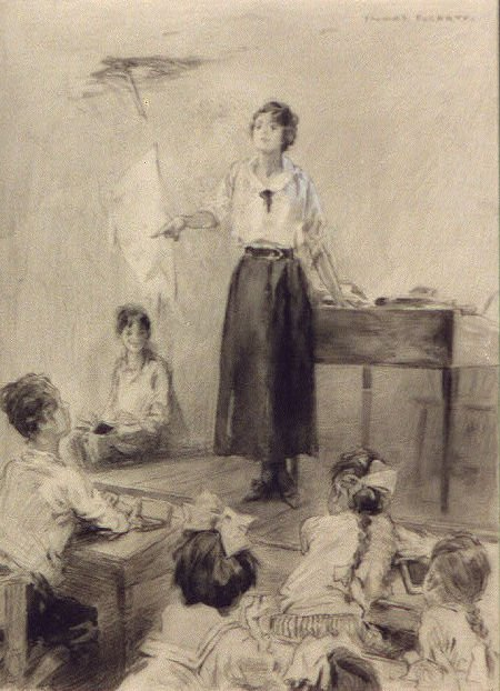 "What a splendid thing the ""little old red school house"" was for this country sketch by Thomas Fogerty"