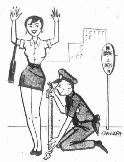 Police Officer Measuring a Woman's Skirt Length.