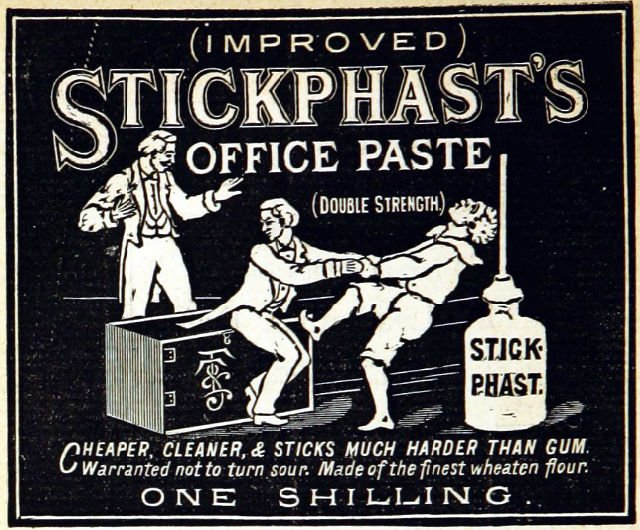 1885 Ad for Stickphast's Office Paste Glue