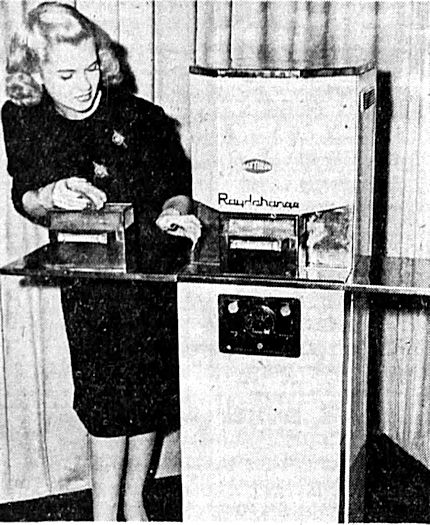 The Radarange being demonstrated in 1946.