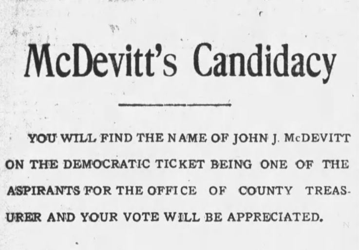 John J. McDevitt for Mayor Ad