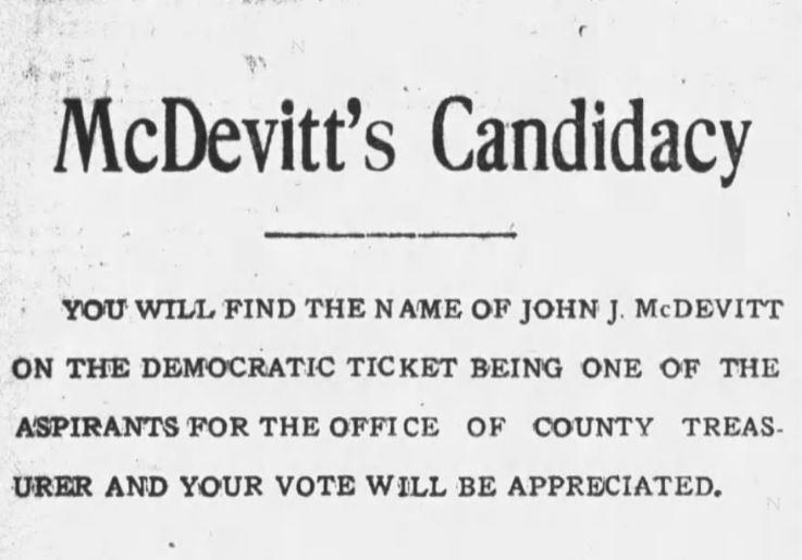 John J. McDevitt for Mayor Ad