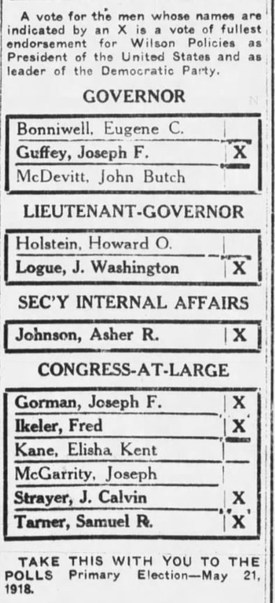 1918 Ballot for the Democratic candidate to be Pennsylvania Governor