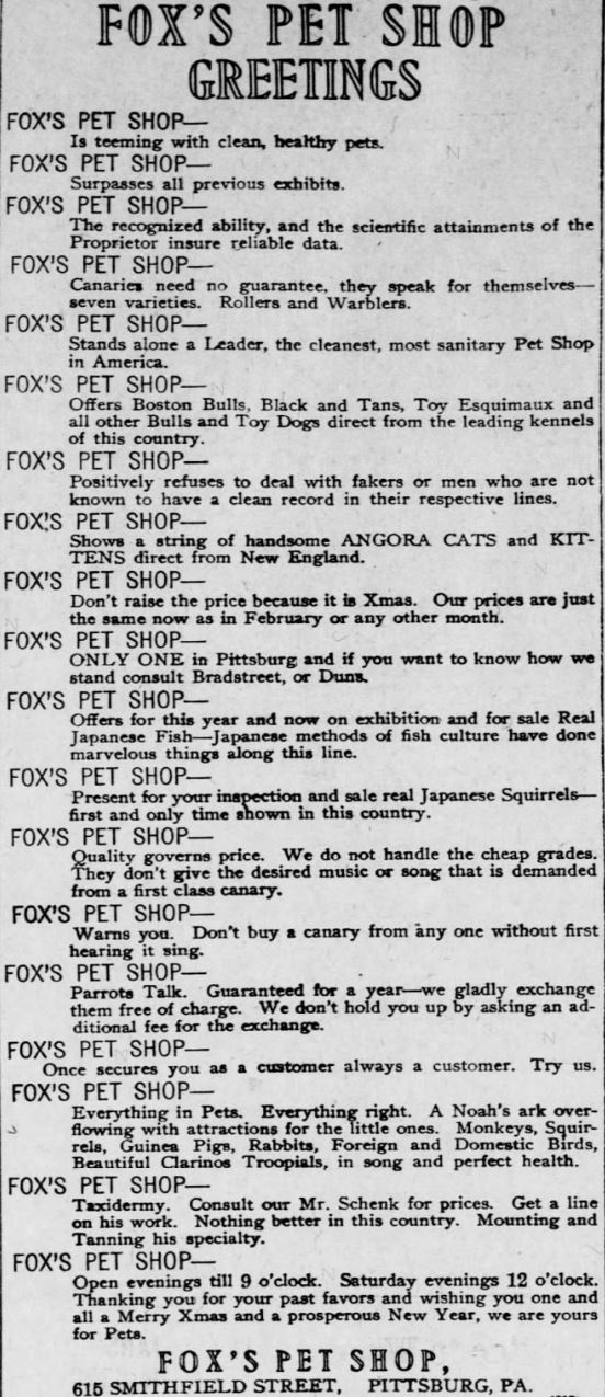 Fox's Pet Shop Ad