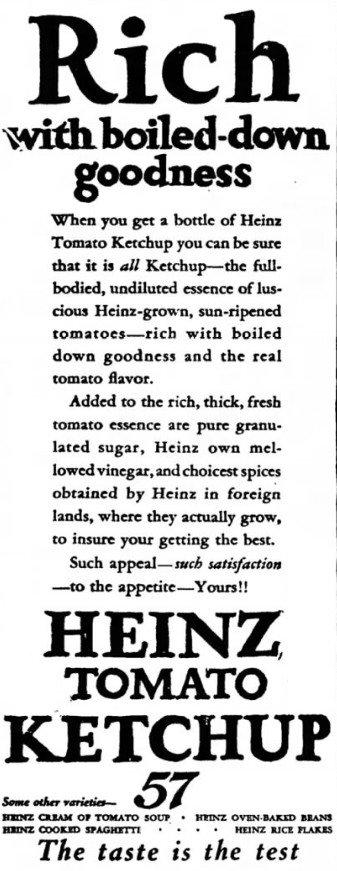 Heinz Tomato Ketchup ad from 1927