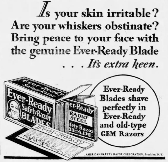 Ready Safety Razor Blades ad from 1931
