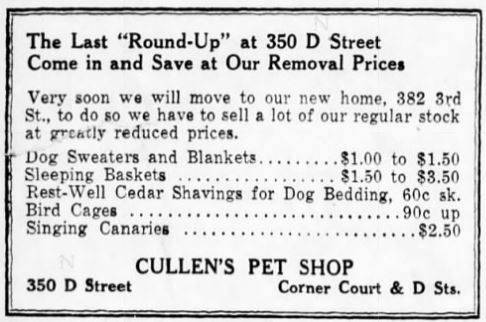 Cullens Pet Shop November 16, 1935