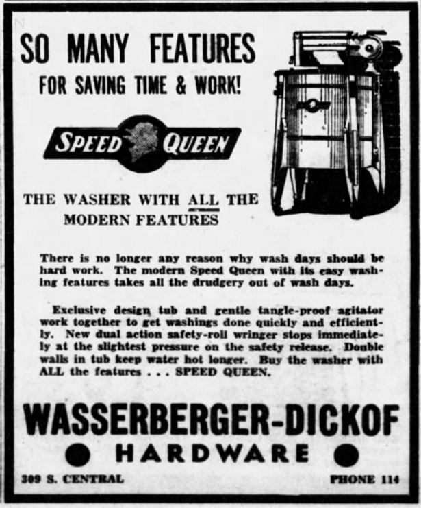 Speed Queen Washing Machine ad 1939