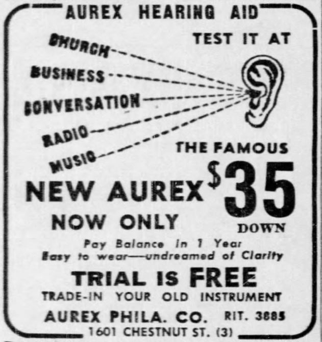 Ad for Aurex Hearing Aid 1944