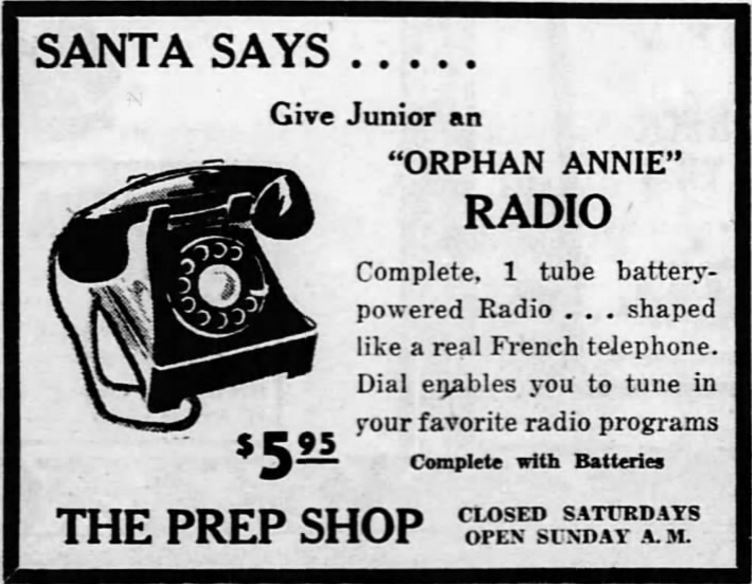 Orphan Annie Radio ad from 1948.