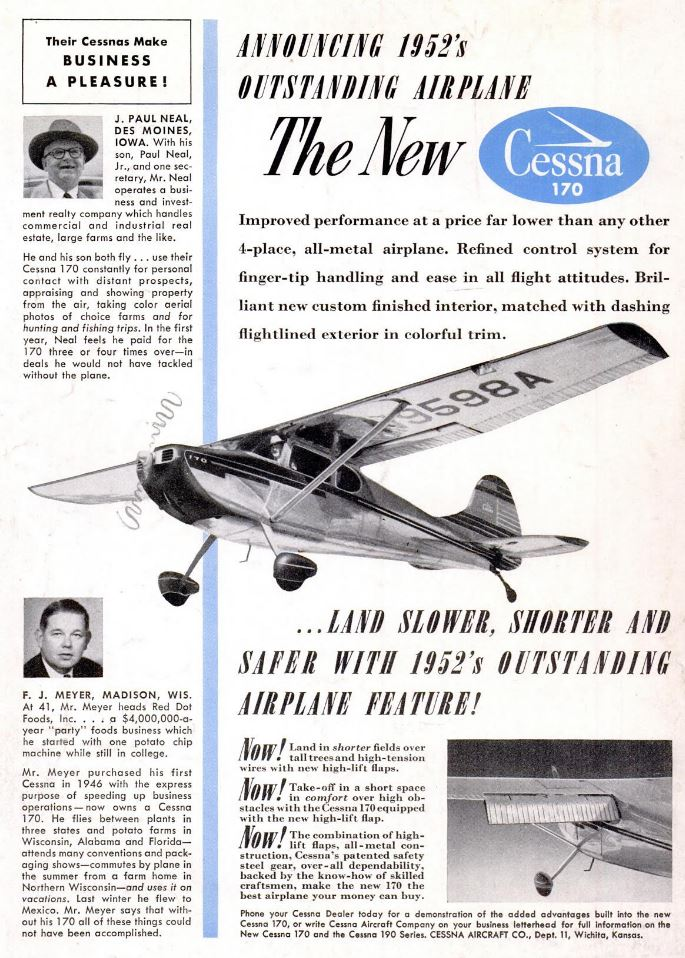 Cessna 170 Airplane Ad