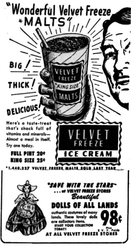 Velvet Cream Ice Cream advertisement.