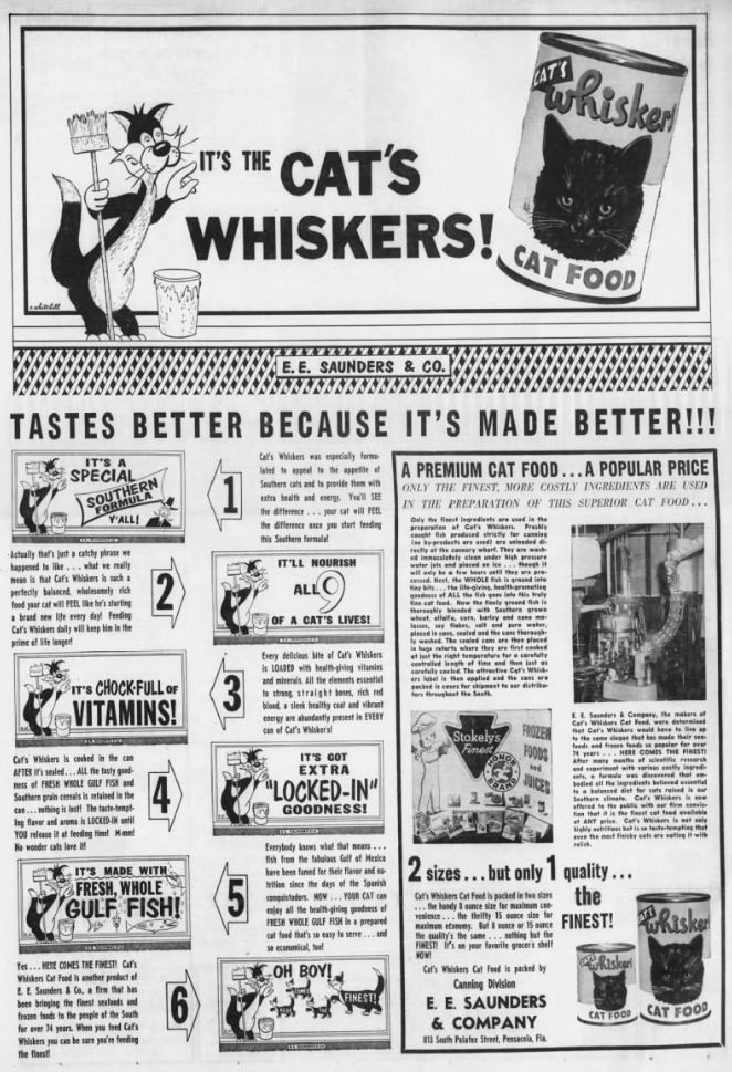 1955 Whiskers Cat Food