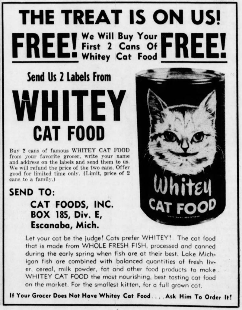 Whitey Cat Food Ad