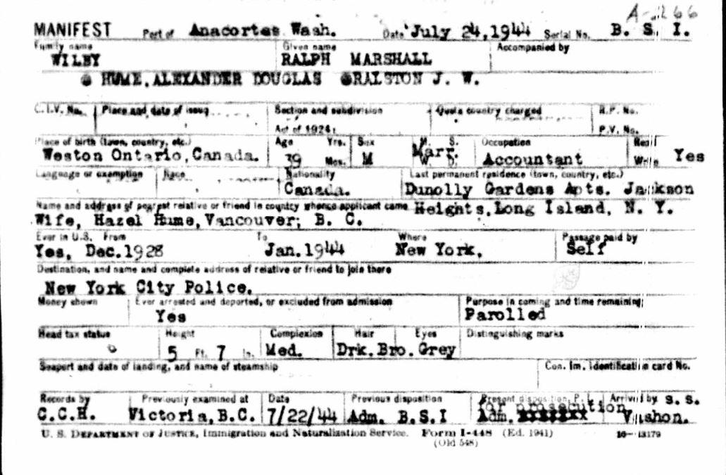 Arrest Border Crossing July 24 1944