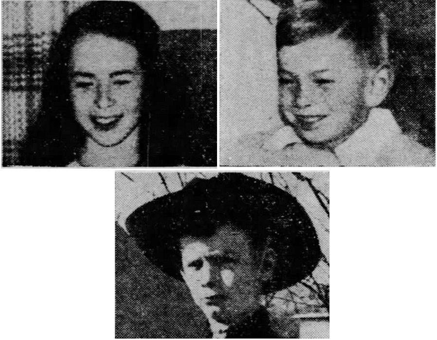 Sharon Drallmeier, 12, her brother, Richard, 9, and Thomas Hayes, 7 (bottom row).