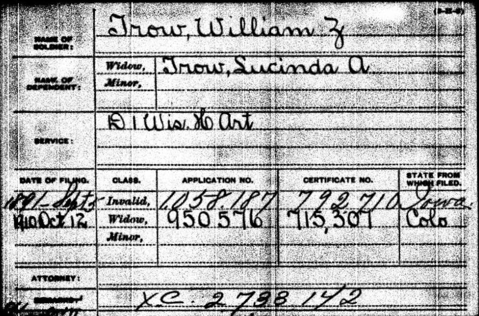Lucinda Trow - Civil War Pension