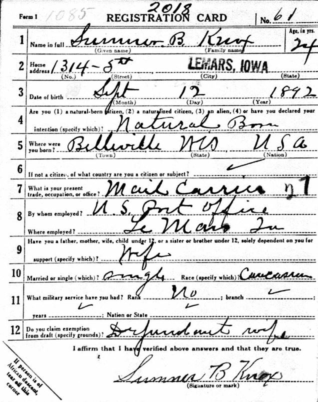 Sumner Knox Draft Registration Card