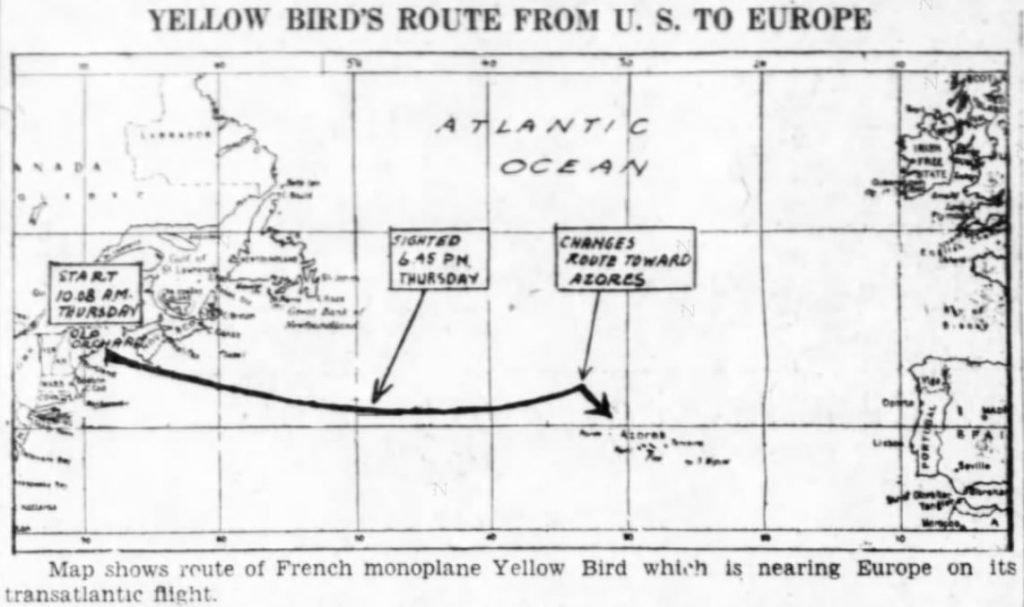 Flight path of the Yellow Bird