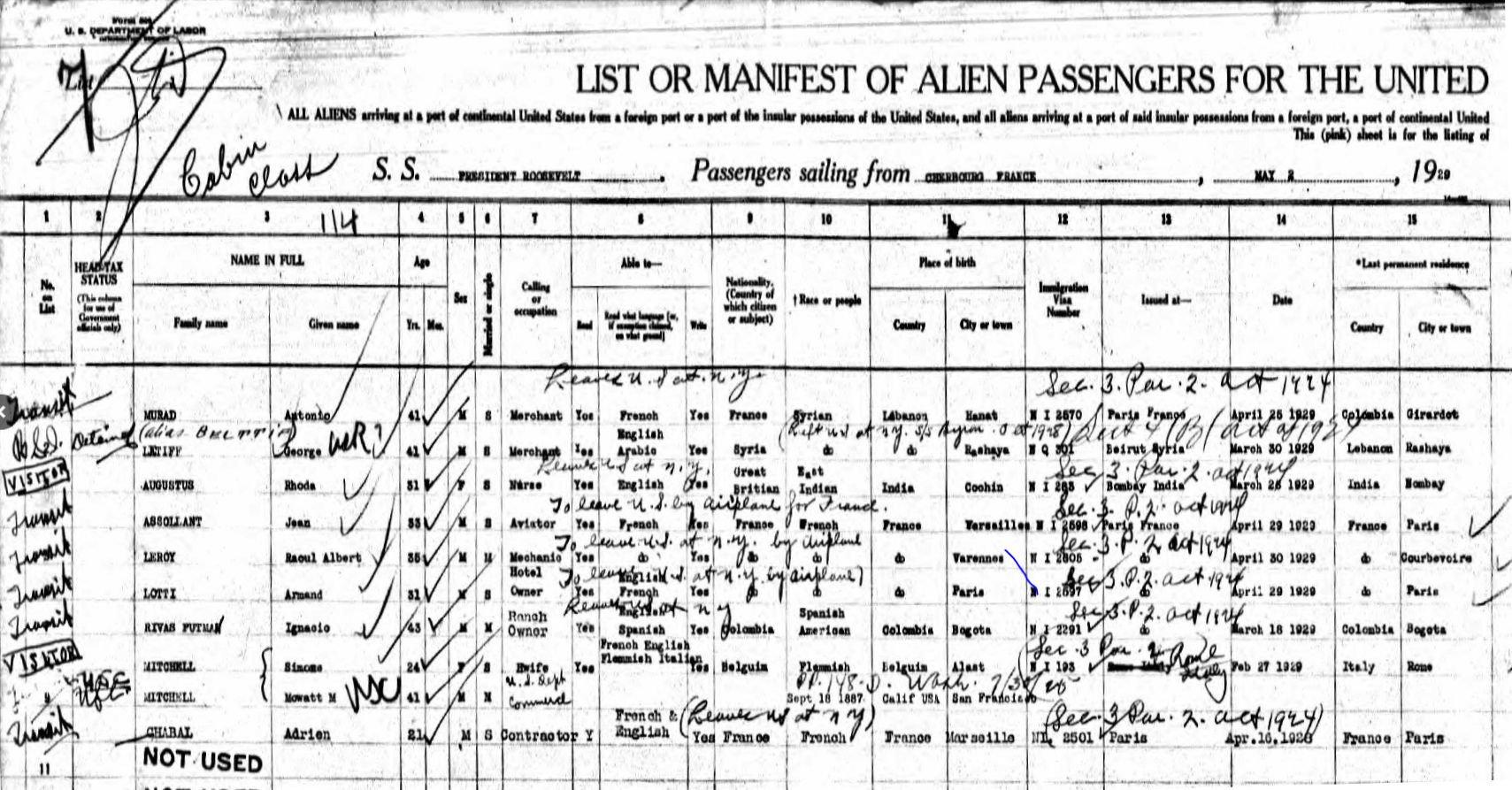Assolant & Lotti Passenger List