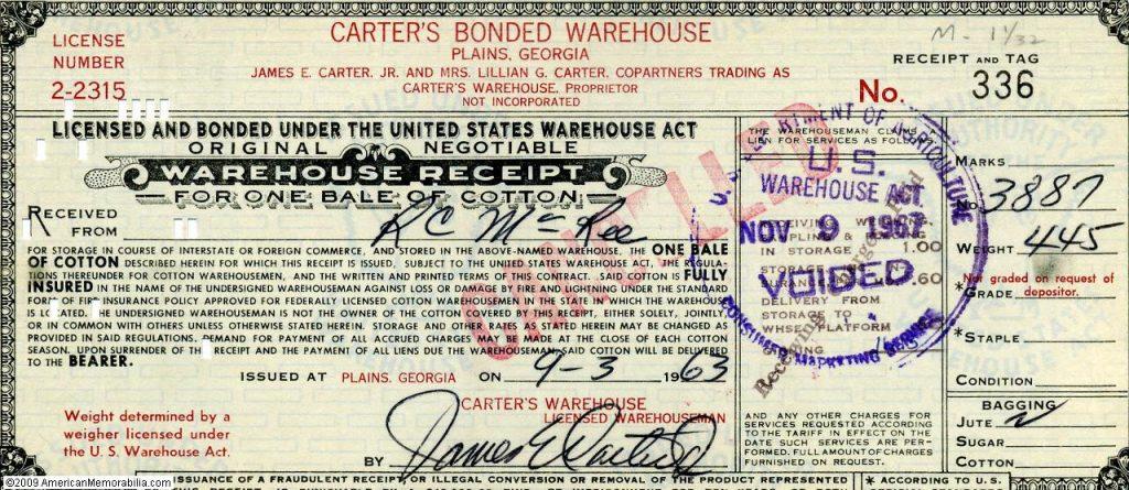 1962 Warehouse Receipt