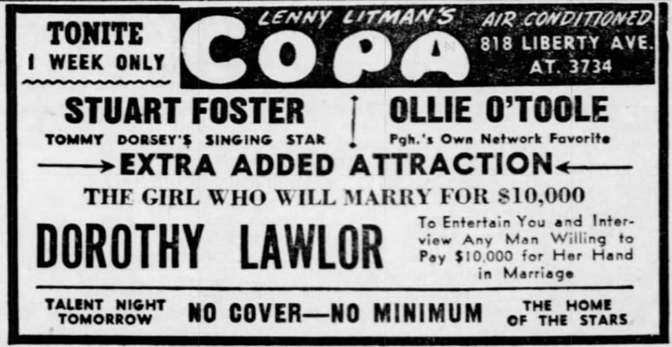 July 26, 1948 ad for Dorothy Lawlor at the Lenny Litman's Copa