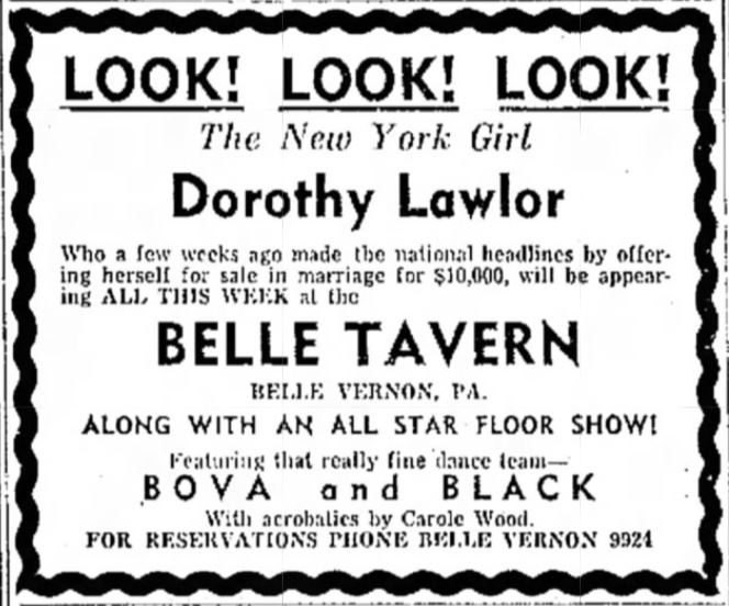Dorothy Lawlor at the Belle Tavern Ad