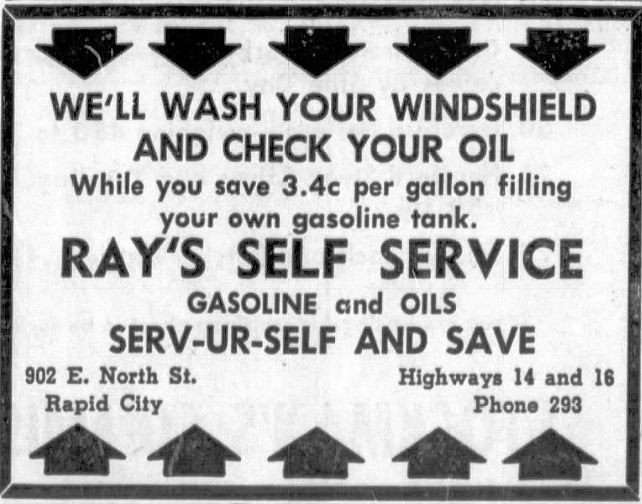 Ad for Ray's Self Service Gasoline