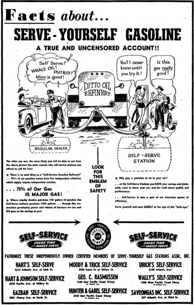 Self Service Gasoline - 1950_08_27 - Long Beach Independent p15