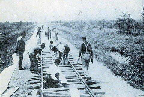 Workers Installing Platform
