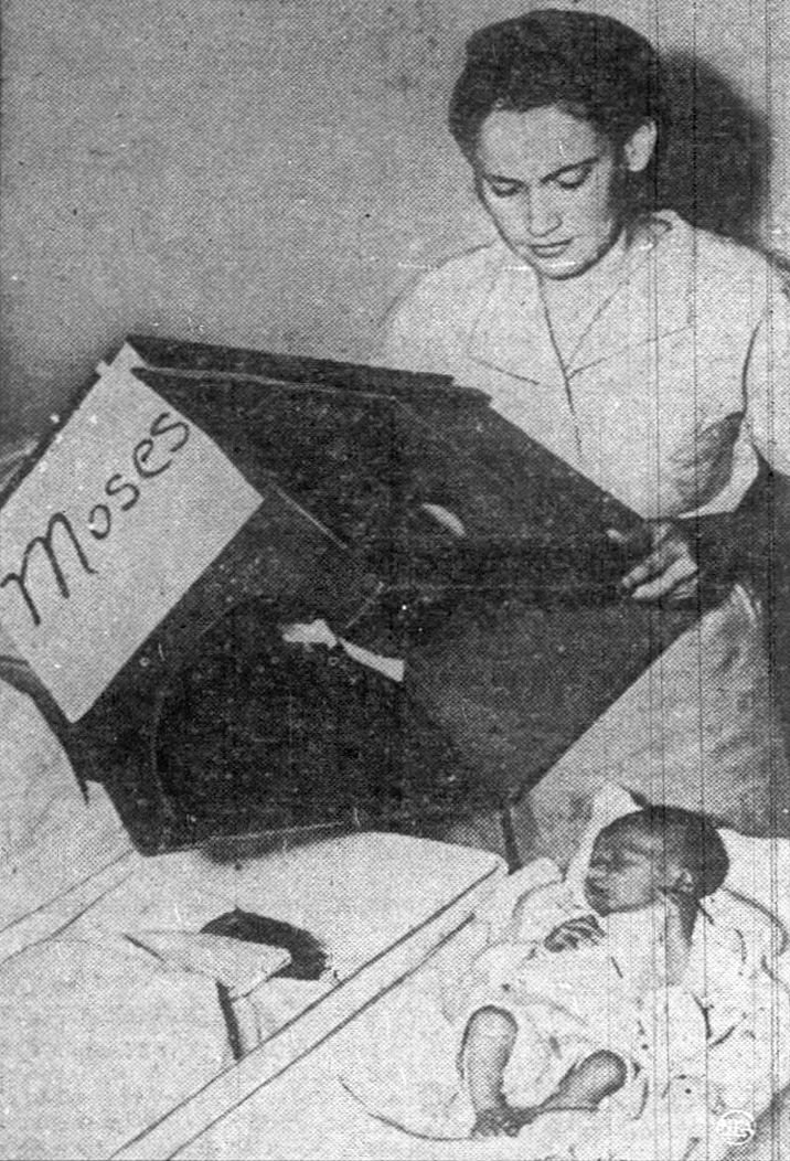 Baby Moses in his primitive incubator at Charity Hospital in New Orleans.