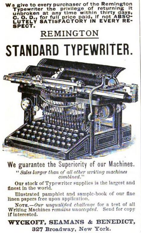 1888 Remington Typewriter Ad