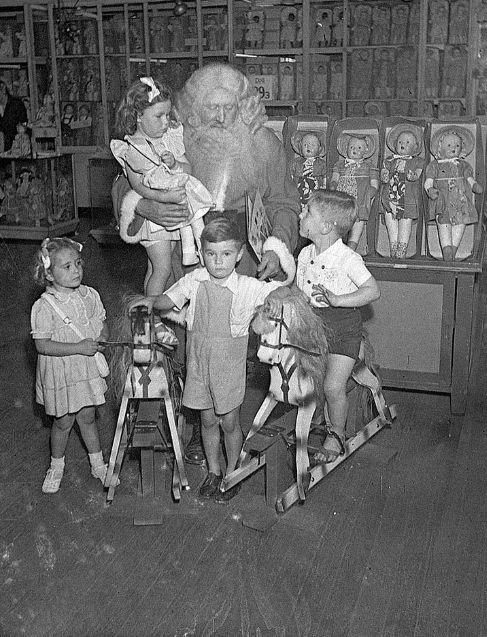 Santa visiting children at Grace Brothers department store in Sydney, Australia in November 1946
