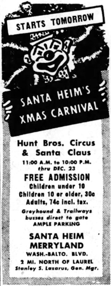 Advertisement for Santa Heim from 1950.