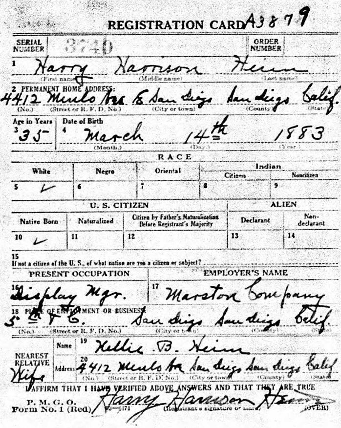 World War I draft registration card for Harry Harrison Heim showing that he woked for the Marston department store in San Diego, California.