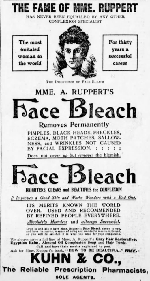 Mme A. Ruppert's Face Bleach Ad