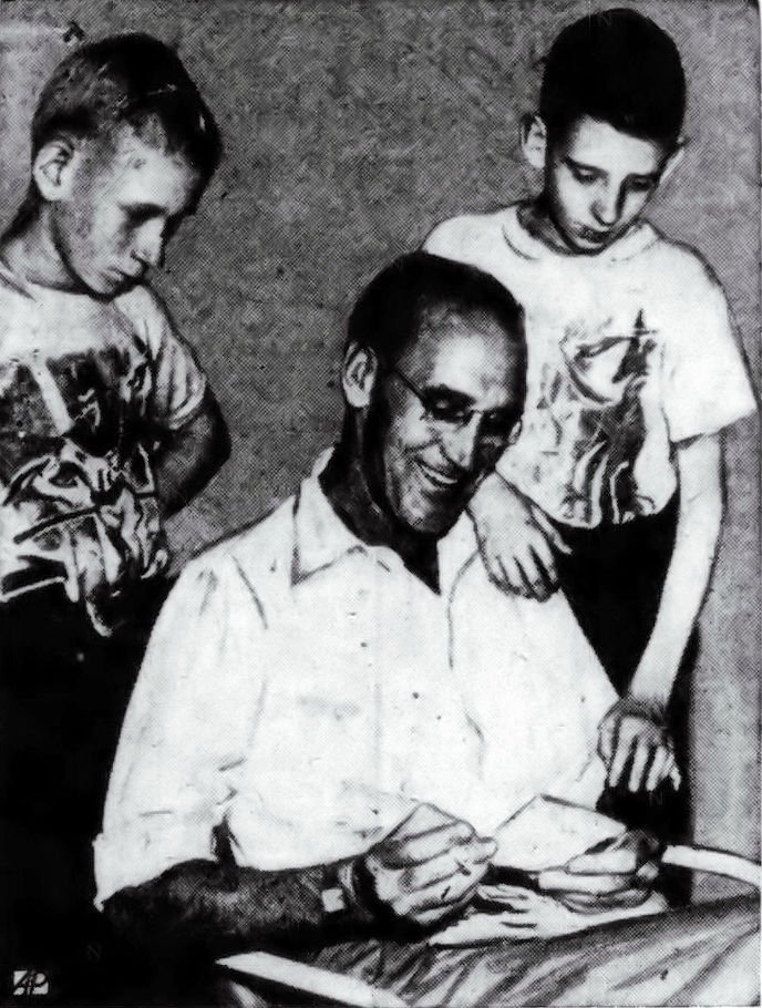 Jessie Garrett looking at one his many replies with his sons James, Jr. (left) and Jimmie (right).