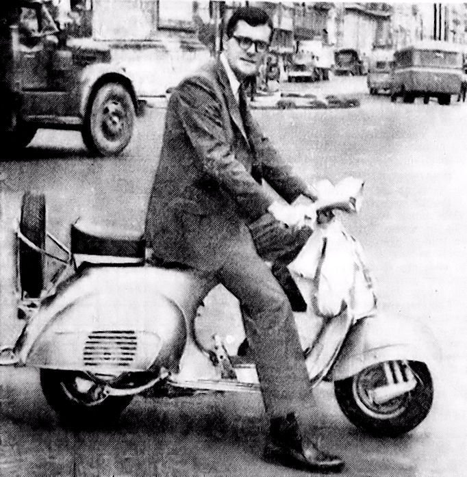 Jim Owen on his motor scooter.  Image from the December, 29, 1962 issue of the Independent Journal (page 5).  I