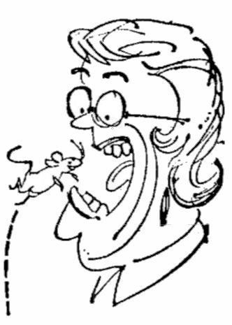 Syndicated sketch of  Florence Hill swallowing a mouse.