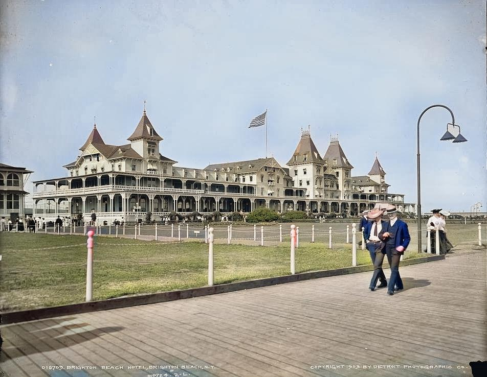 Colorized image of the Brighton Beach Hotel from 1903.
