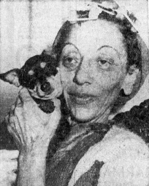Photograph of Mrs. Mary Matz and her dog Tiny Mouse
