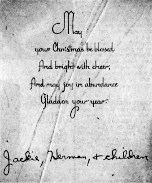 One of the mysterious Christmas cards received over a 17-year period by the Dooley family in Akron, Ohio.