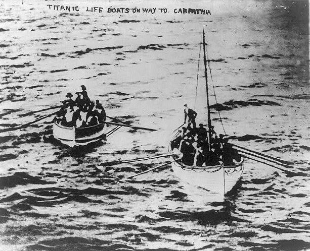 Titanic survivors in lifeboats on their way to the Carpathia.