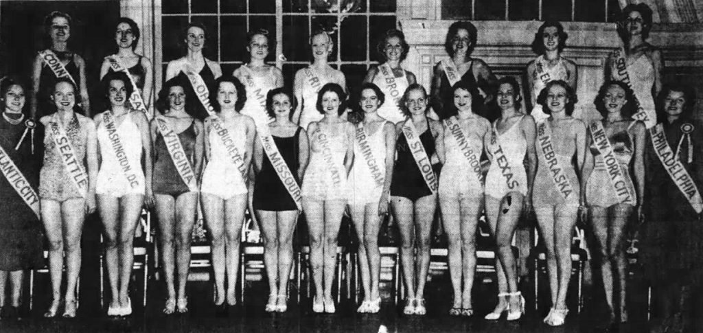 Twenty-two of the contestants in the 1937 Miss America competition. Image appeared on page 2 of the September 7, 1937 publication of the Camden Post.