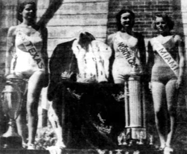 Miss Texas, Miss North Carolina, and Miss Miami stand next to Miss America 1937's vacant throne.