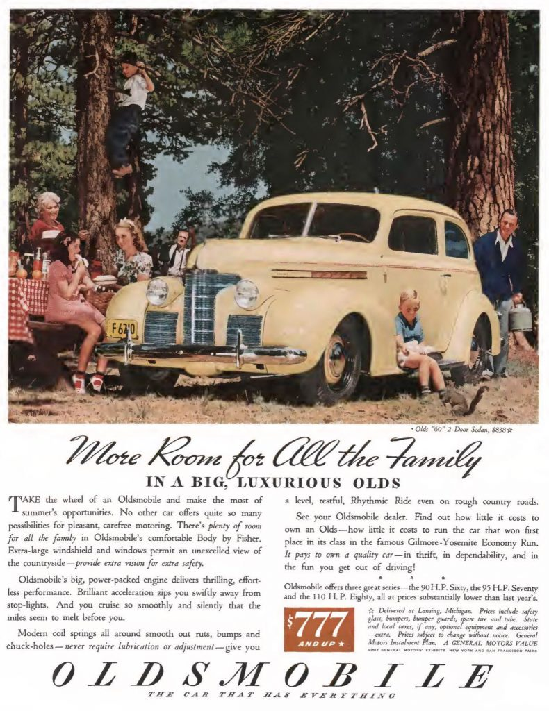 Oldsmobile Ad, Saturday Evening Post, August 5, 1939, page 27.