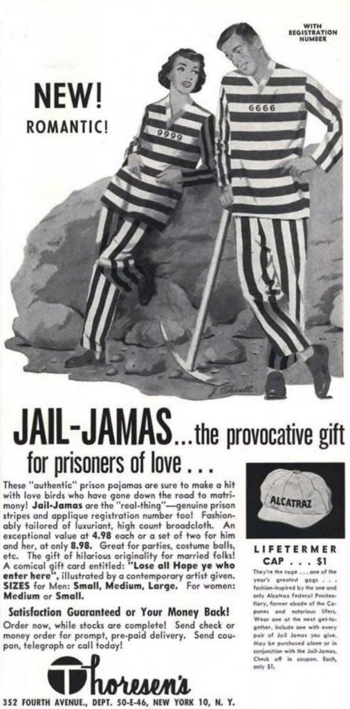Thoresen's Jail-Jamas Ad, Esquire, May 1953, page 141.